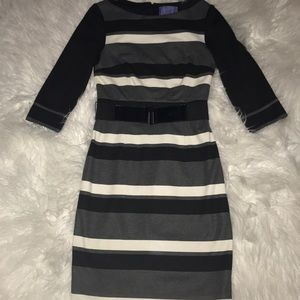 Kay Unger size 4 tailored striped dress w belt